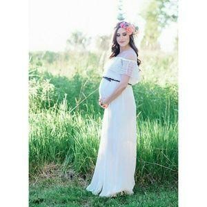White Off Shoulder Lace Maxi Dress bump friendly